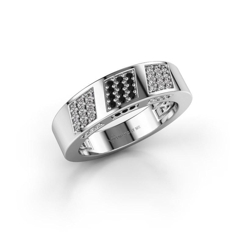 Ring Jessika 925 zilver zwarte diamant 0.32 crt