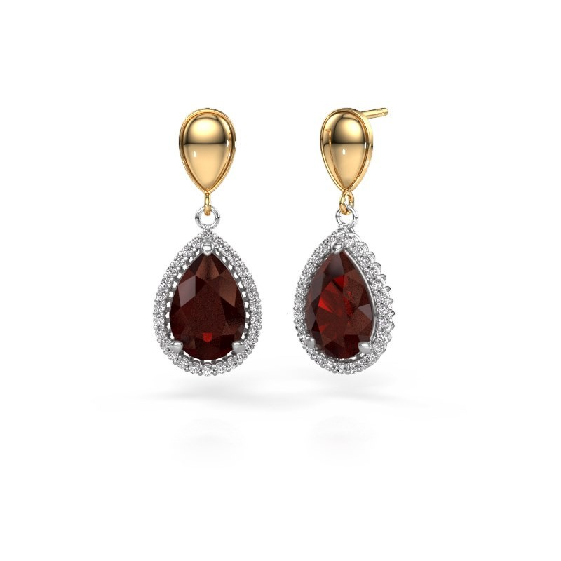 Drop earrings Cheree 1 585 white gold garnet 12x8 mm