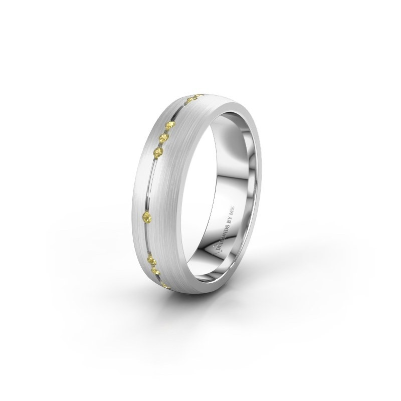 Wedding ring WH0166L25A 585 white gold yellow sapphire ±0.20x0.07 in