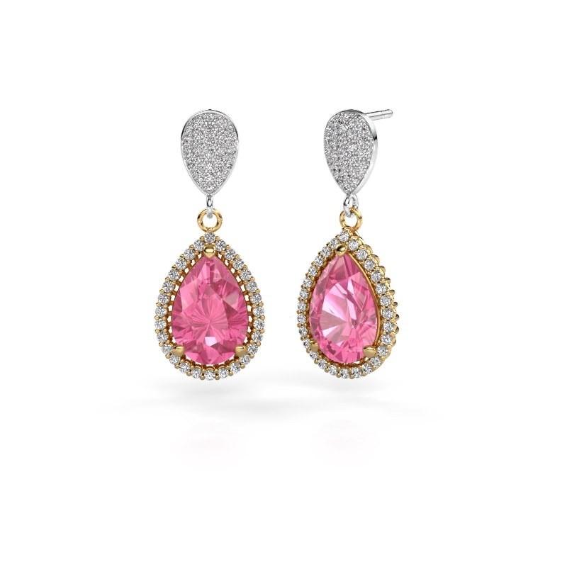 Drop earrings Cheree 2 585 gold pink sapphire 12x8 mm