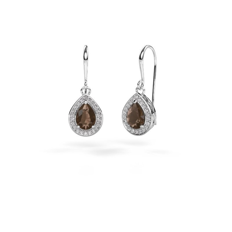 Drop earrings Beverlee 1 585 white gold smokey quartz 7x5 mm