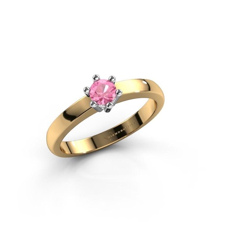 Verlovingsring Luna 1 585 goud roze saffier 3.7 mm