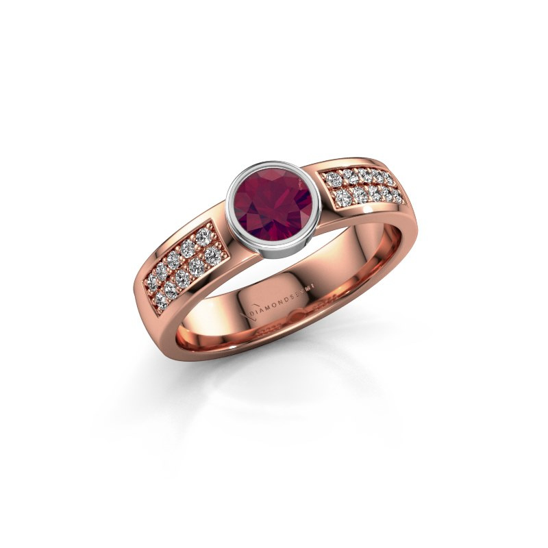 Engagement ring Ise 3 585 rose gold rhodolite 4.7 mm