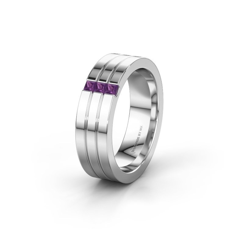 Wedding ring WH0428L16BP 585 white gold amethyst ±0.24x0.08 in