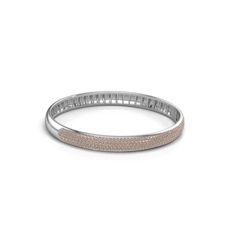 Slavenarmband Emely 7mm 585 witgoud bruine diamant 2.013 crt