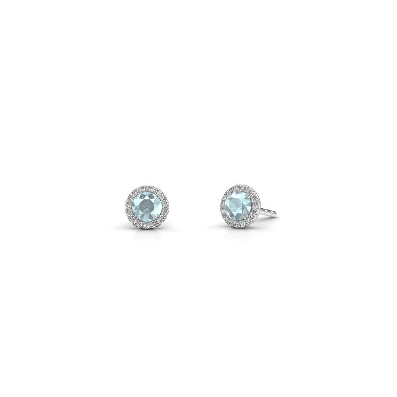 Earrings Seline rnd 950 platinum aquamarine 4 mm