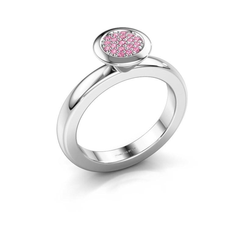 Stapelring Rani 925 zilver roze saffier 1 mm