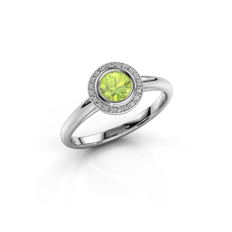 Promise ring Noud 1 RND 585 white gold peridot 4.7 mm
