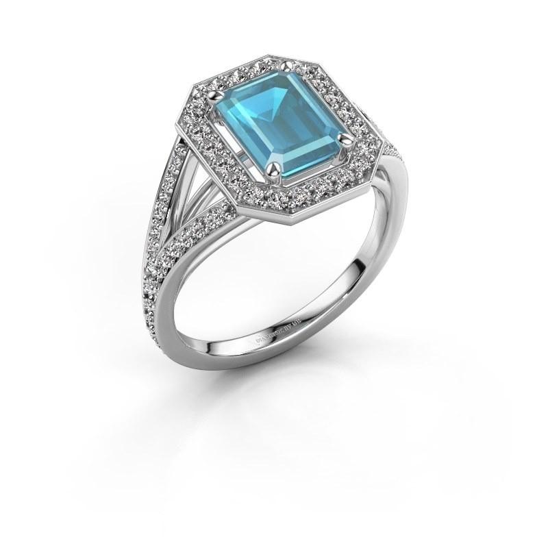 Promise ring Angelita EME 950 platina blauw topaas 8x6 mm