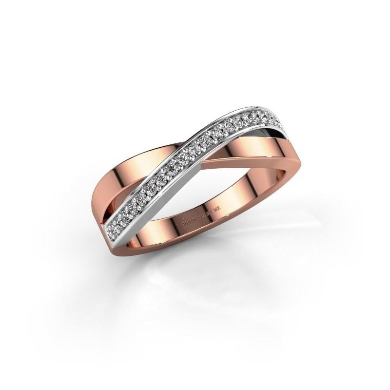 Ring Kaley 585 rosé goud diamant 0.143 crt