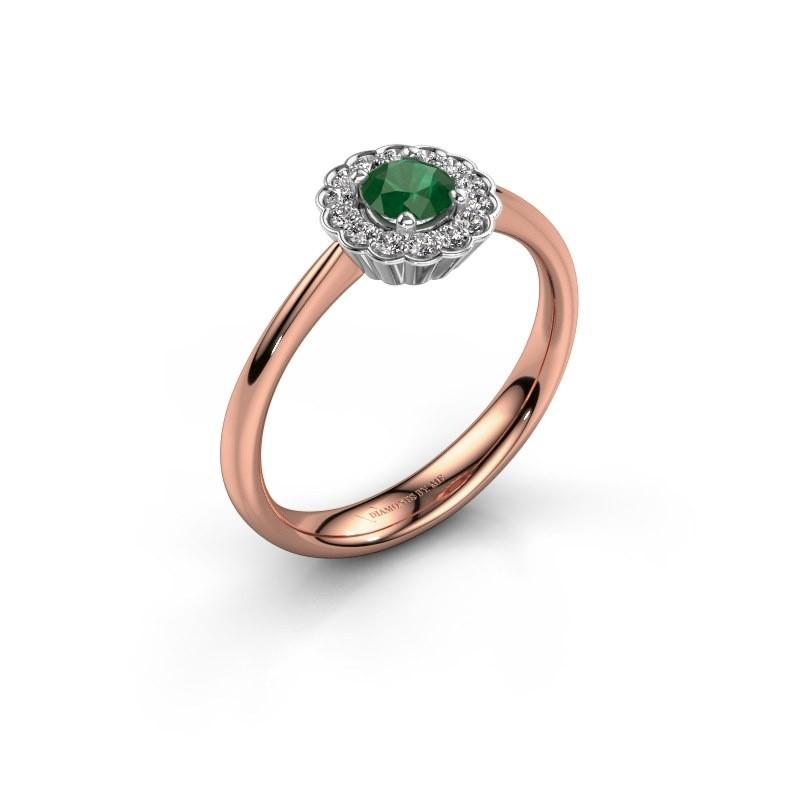 Verlovingsring Debi 585 rosé goud smaragd 4.2 mm
