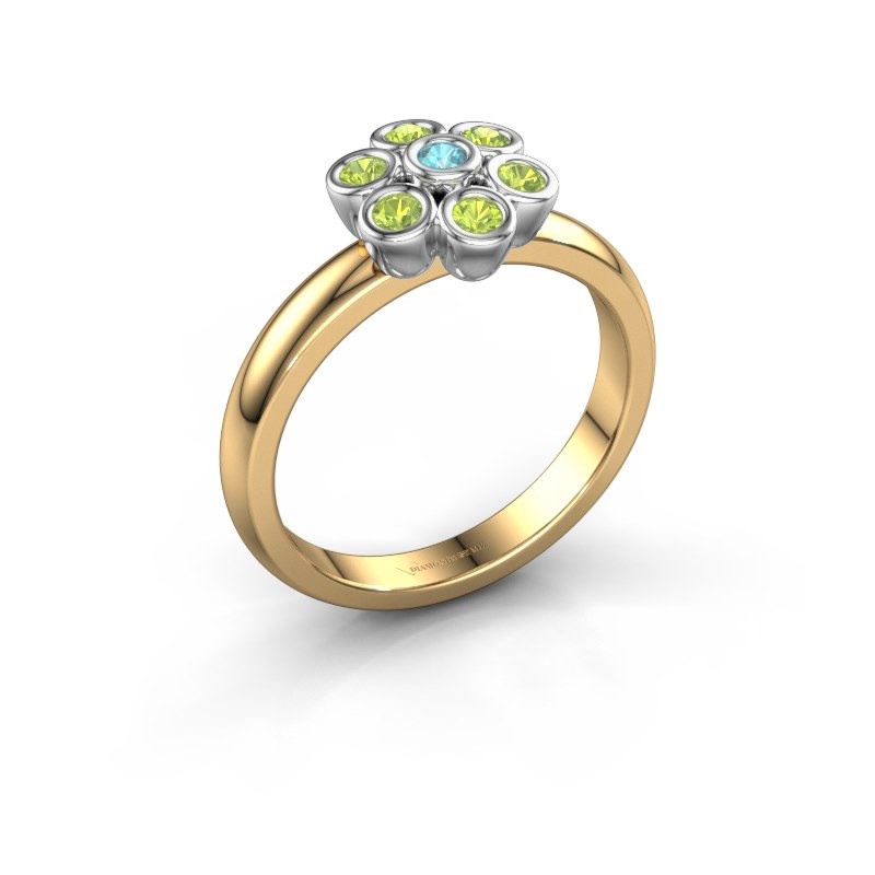 Ring Aaliyah 585 gold blue topaz 2 mm