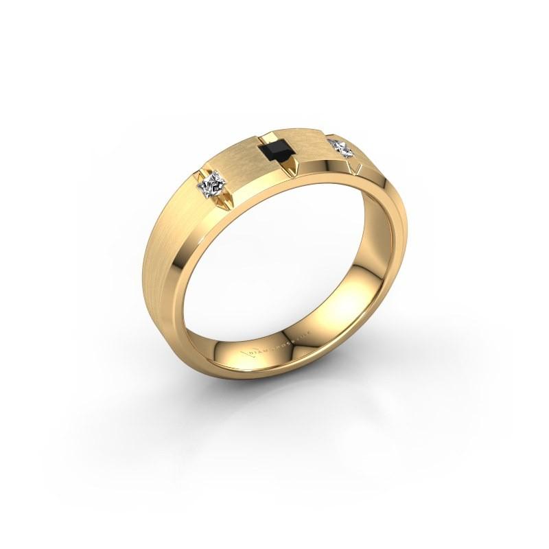 Mannen ring Justin 375 goud zwarte diamant 0.22 crt
