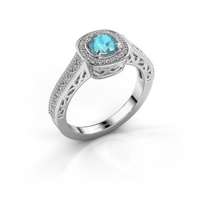 Verlovings ring Candi 585 witgoud blauw topaas 5 mm
