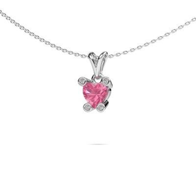 Foto van Ketting Cornelia Heart 925 zilver roze saffier 6 mm