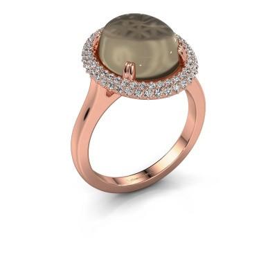 Ring Jayna 375 rose gold smokey quartz 12x10 mm