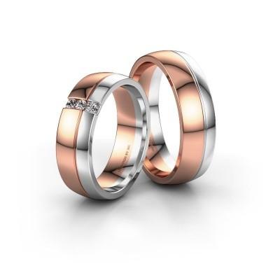 Foto van Trouwringen set WH0223LM56A ±6x1.7 mm 14 karaat rosé goud diamant 0.03 crt