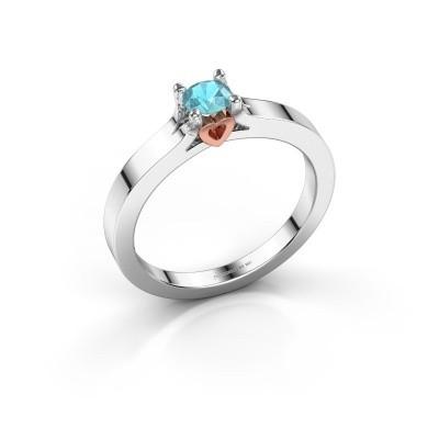 Foto van Belofte ring Eliz 585 witgoud blauw topaas 4.2 mm