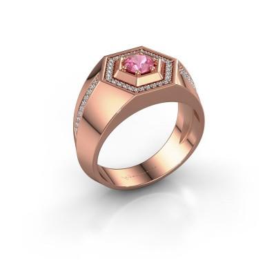 Men's ring Sjoerd 375 rose gold pink sapphire 4.7 mm