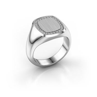 Heren ring Floris Cushion 3 585 witgoud diamant 0.225 crt