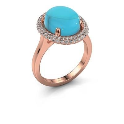 Foto van Ring Jayna 375 rosé goud blauw topaas 12x10 mm