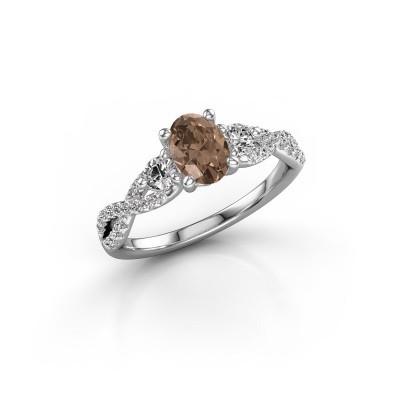 Foto van Verlovingsring Marilou OVL 925 zilver bruine diamant 1.16 crt