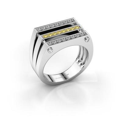 Herrenring Jauke 950 Platin Gelb Saphir 1.7 mm