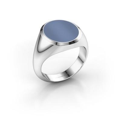 Foto van Zegelring Herman 5 950 platina licht blauwe lagensteen 15x13 mm