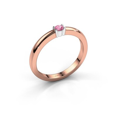 Foto van Promise ring Yasmin 1 585 rosé goud roze saffier 2.7 mm