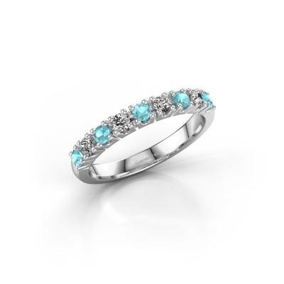 Engagement ring Rianne 9 585 white gold blue topaz 2.4 mm