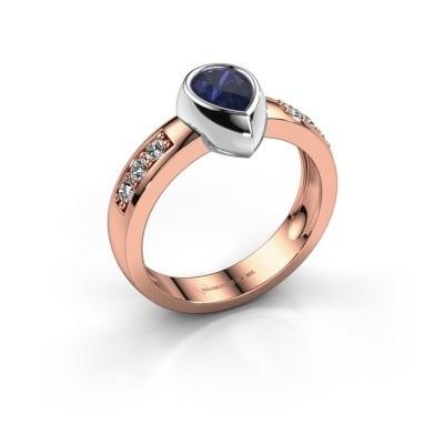 Ring Charlotte Pear 585 Roségold Saphir 8x5 mm