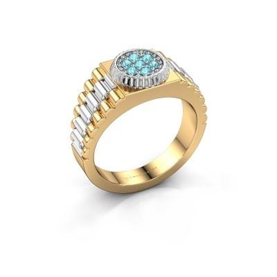 Foto van Rolex stijl ring Nout 585 goud blauw topaas 2 mm
