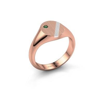 Foto van Pinkring Finn 3 585 rosé goud smaragd 2 mm