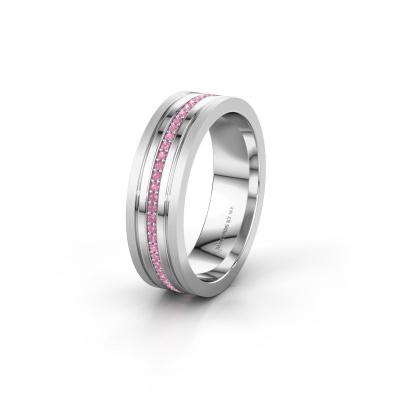 Trouwring WH0404L16A 585 witgoud roze saffier ±6x1.7 mm