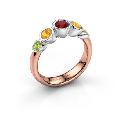 Ring Lizz 585 rosé goud robijn 4 mm