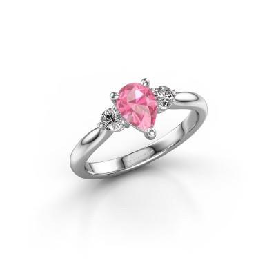 Foto van Verlovingsring Lieselot PER 585 witgoud roze saffier 7x5 mm