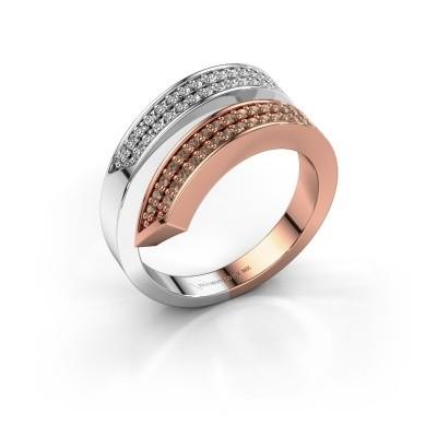 Bague Pien 585 or rose diamant brun 0.450 crt