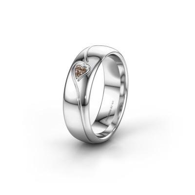 Trouwring WH0168L36AP 925 zilver bruine diamant ±6x1.7 mm