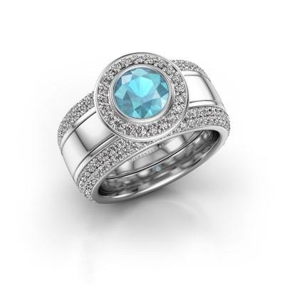 Foto van Ring Roxie 950 platina blauw topaas 6.5 mm