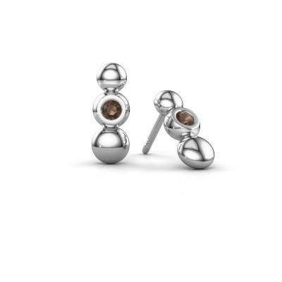 Picture of Earrings Lily 925 silver smokey quartz 2.5 mm