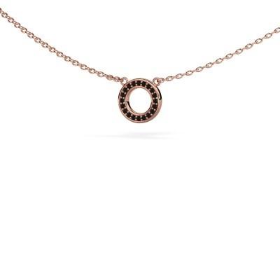 Foto van Hanger Round 2 375 rosé goud zwarte diamant 0.06 crt