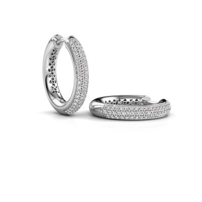 Picture of Hoop earrings Tristan B 19 mm 585 white gold diamond 0.58 crt
