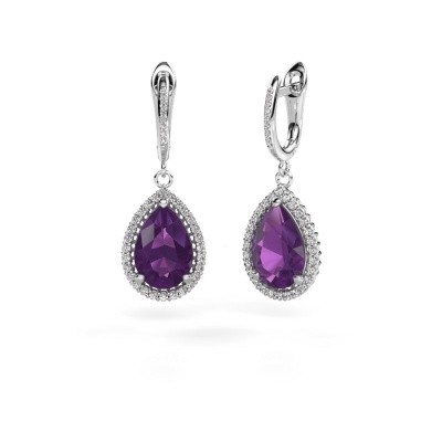 Drop earrings Tilly per 4 585 white gold amethyst 12x8 mm