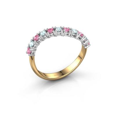 Ring Eliza 585 goud roze saffier 2 mm