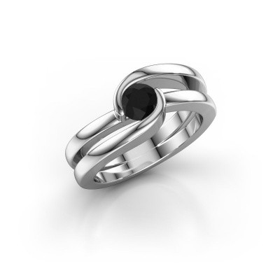 Foto van Ring Xenia 1 585 witgoud zwarte diamant 0.60 crt