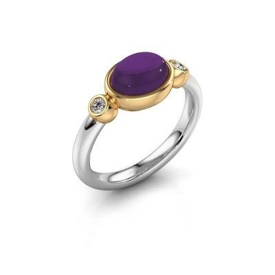 Ring Liane 585 witgoud amethist 8x6 mm