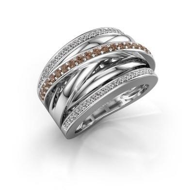 Foto van Ring Clair 2 925 zilver bruine diamant 0.565 crt