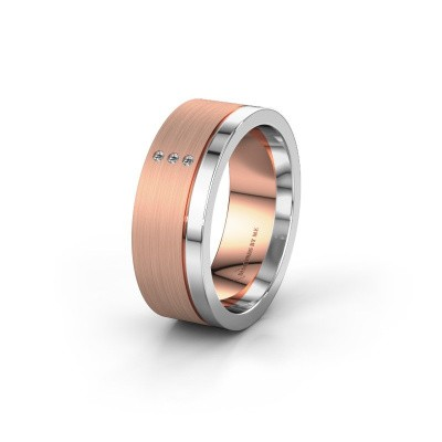 Wedding ring WH0325L17APM 585 rose gold zirconia ±0.28x0.07 in