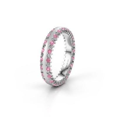 Trouwring WH2139L24B 925 zilver roze saffier ±4x2 mm