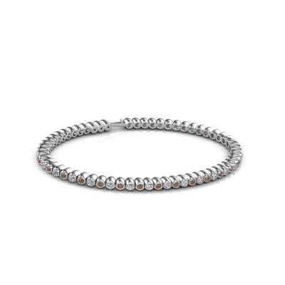 Foto van Tennisarmband Bianca 2 mm 585 witgoud bruine diamant 1.800 crt